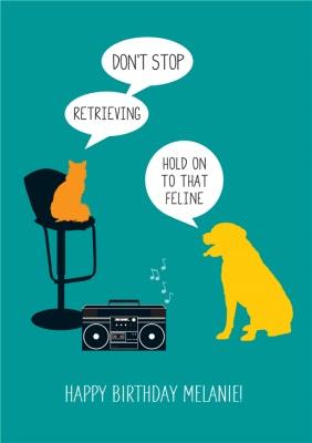 Cat And Dog Birthday Card