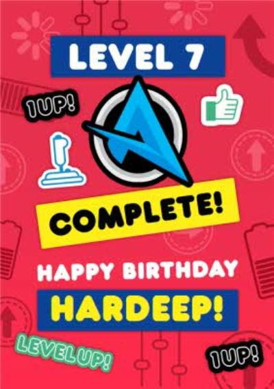 Ali A Level 7 Complete Level Up Gaming Happy Birthday Card