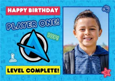 Ali A Player One Level Complete Gaming Happy Birthday Photo Upload Card