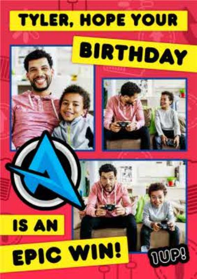 Ali A Epic Win Gaming Happy Birthday Photo Upload Card