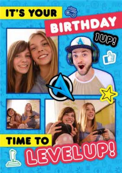 Ali A Gamers Its Your Birthday Time To Level Up Photo Upload Happy Birthday Card