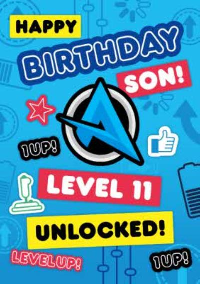 Ali A Level 11 Unlocked Gaming Birthday Card For Your Son