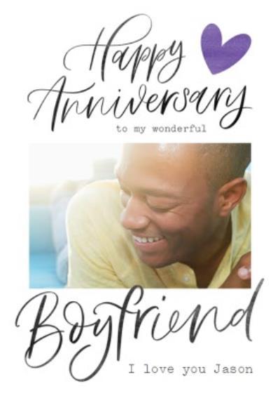 Typographic Happy Anniversary To My wonderful Boyfriend Photo Upload Card