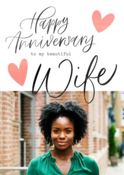 Typographic Happy Anniversary To My Beautiful Wife Photo Upload Card