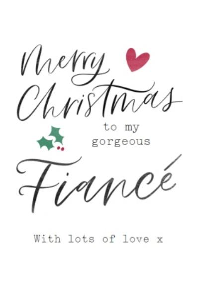 Modern Typographic Gorgeous Fiance Christmas Card