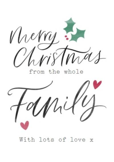 Modern Typographic Christmas Card From The Whole Family