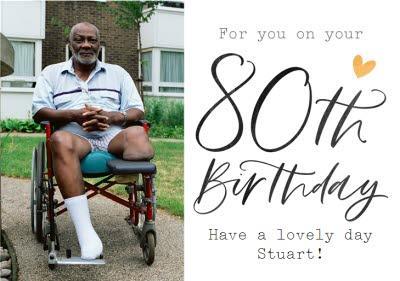 Typographic Calligraphy 80th Birthday Photo Upload Card