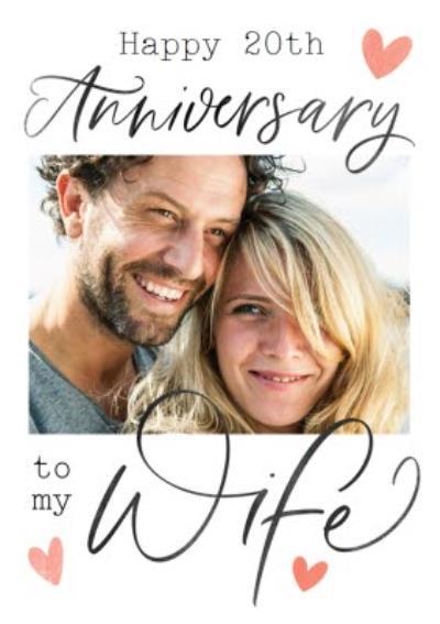 Typographic Calligraphy Wife Anniversary Photo Upload Card