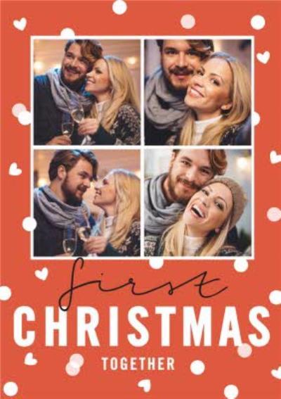 First Christmas Together Polka Dot Snow Photo Upload Card