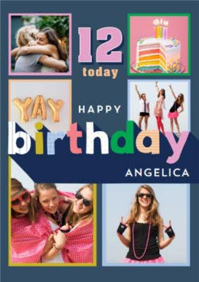 Modern Multiple Photo Upload 12 Today Birthday Card