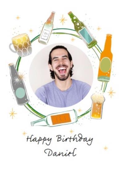 Circular Beer Design Photo Upload Happy Birthday Card