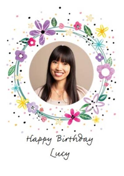 Circular Floral Design Photo Upload Happy Birthday Card