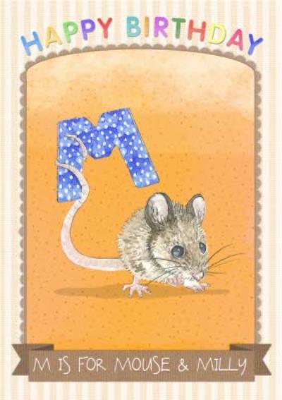 Alphabet Animal Antics M Is For Personalised Happy Birthday Card
