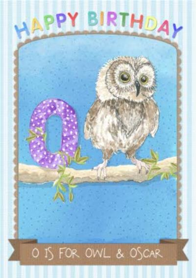 Pinstriped O Is For Owl Personalised Birthday Card