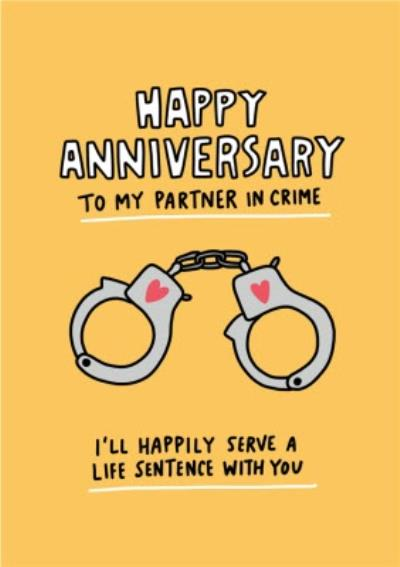 Angela Chick Happy Anniversary To My Partner In Crime Anniversary Card