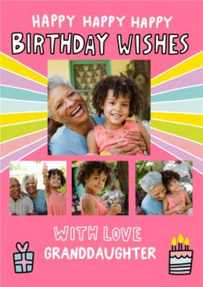 Angela Chick Illustrated Birhday Cake Rainbow Pattern Granddaughter Photo Upload Card