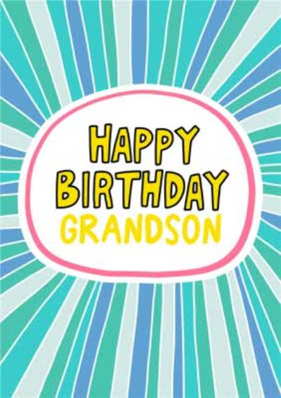 Angela Chick Illustrated Stripe Pattern Grandson Birthday Card