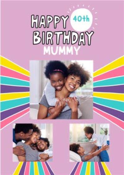 Fun Illustrated Rainbow Mummy Photo Upload Birthday Card