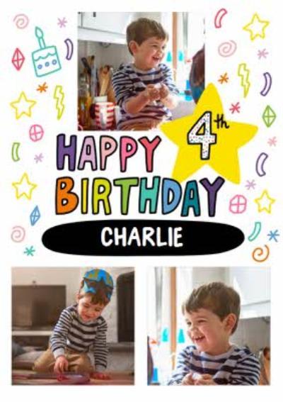 Angela Chick Bright Personalised Photo Upload 4th Birthday Card