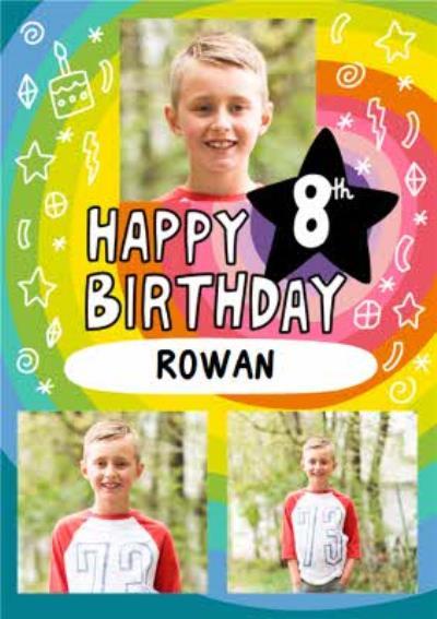 Angela Chick Bright Personalised Photo Upload 8th Birthday Card