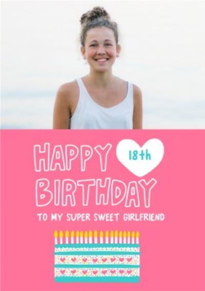 Pink Birthday Cake Typographic Girlfriend Photo Upload Birthday Card