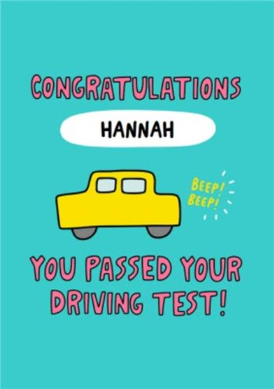 Fun Illustrated Car And Typographic Congratulations Driving Test Card