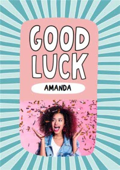 Personalised Photo Typographic Illustrated Good Luck Card