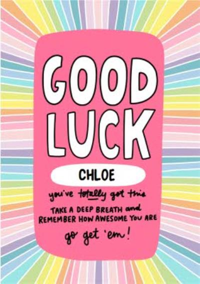 Rainbow Typographic Illustrated Good Luck Card