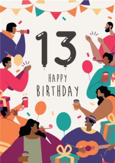 Anoela Party Illustration 13 Happy Birthday Card