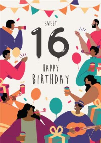 Anoela Party Illustration Sweet 16 Happy Birthday Card