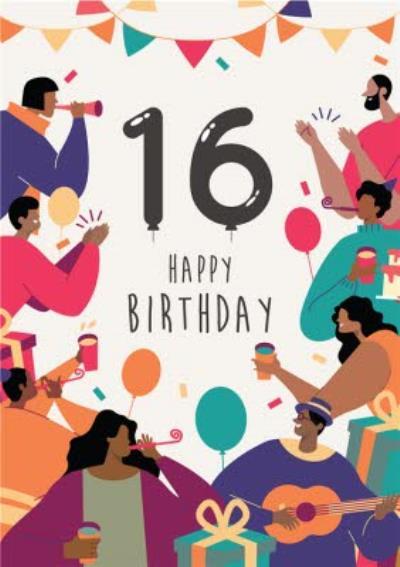 Anoela Party Illustration 16 Happy Birthday Card