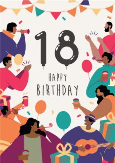 Anoela Party Illustration 18 Happy Birthday Card