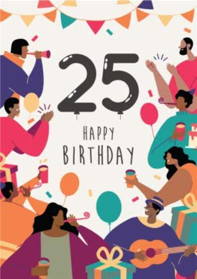 Anoela Party Illustration 25 Happy Birthday Card