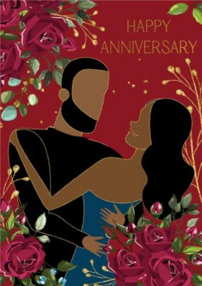 Anoela Floral Couple Illustration Happy Anniversary Card