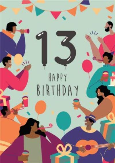 Anoela Party Illustration Green 13 Happy Birthday Card