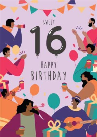 Anoela Purple Party Illustration Sweet 16 Happy Birthday Card