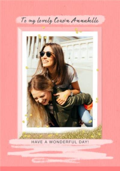 Pink glitter frame photo upload card