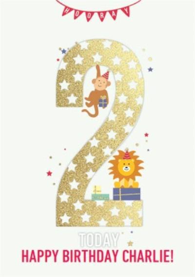 Hooray Two Today Kids Animal Birthday Card