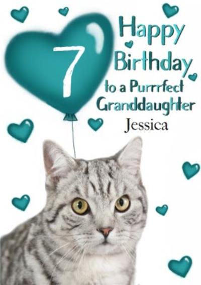 Photo Of Cat With Birthday Balloons Granddaughter 7th Birthday Card