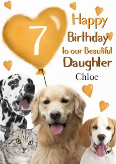 Photo Of Dogs And Cats With Birthday Balloon Daughter 7th Birthday Card