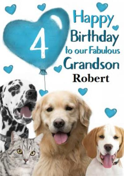 Photo Of Cats And Dogs With Birthday Balloon Grandson 4th Birthday Card