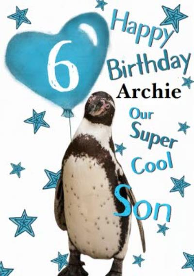 Photo Of Penguin With Birthday Balloon Son 6th Birthday Card