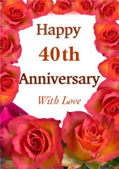 Photographic Boarder Of Red Roses Personalise Year Anniversary Card