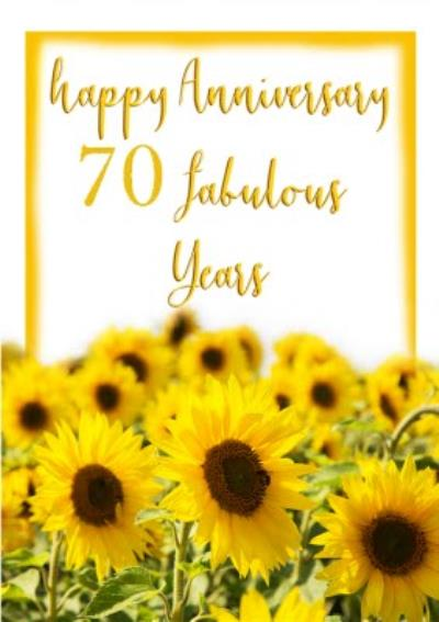 Photographic Field Of Sunflowers Personalise Year Anniversary Card