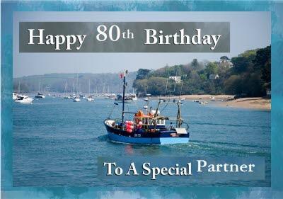 Alex Sharp Colourful Boat Photographic Travel Partner Birthday Card