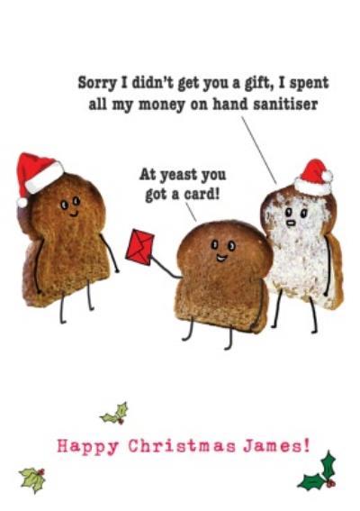 Personalised Coronavirus Hand Sanitiser Toast Lockdown Happy Christmas Card