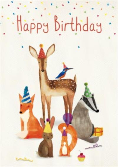 Woodland Animals Happy Birthday Card