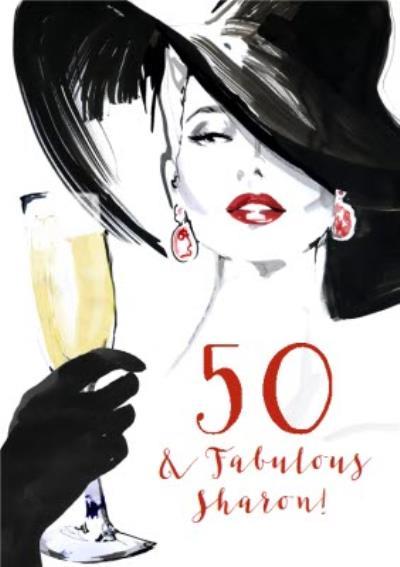Fashion Illustration Champagne prosecco Birthday Card 50 & Fabulous