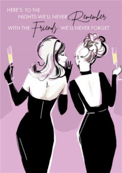 Fashion Illustration Partying With Friends Birthday Card