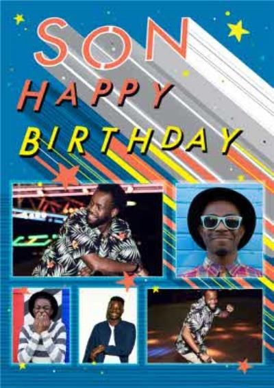 Axel Bright Graphic Son Happy Birthday Multi Photo Upload Card